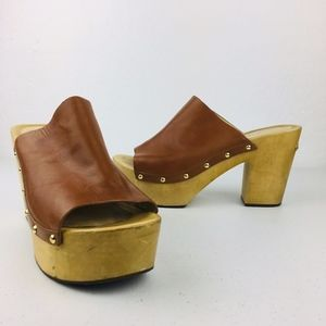 Michale Kors Cognac Chunky Wood Heeled Heels